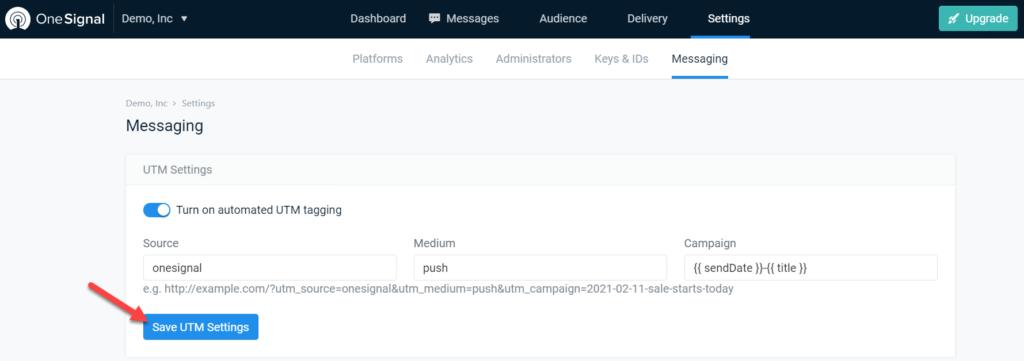 add push notifications to wordpress - save UTM settings