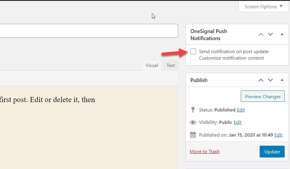 add push notifications to wordpress - send push notification update