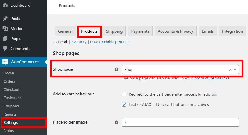 How to Create WooCommerce Pages - WordPress dashboard