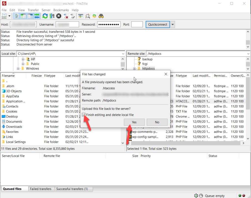 upload htaccess file back to server