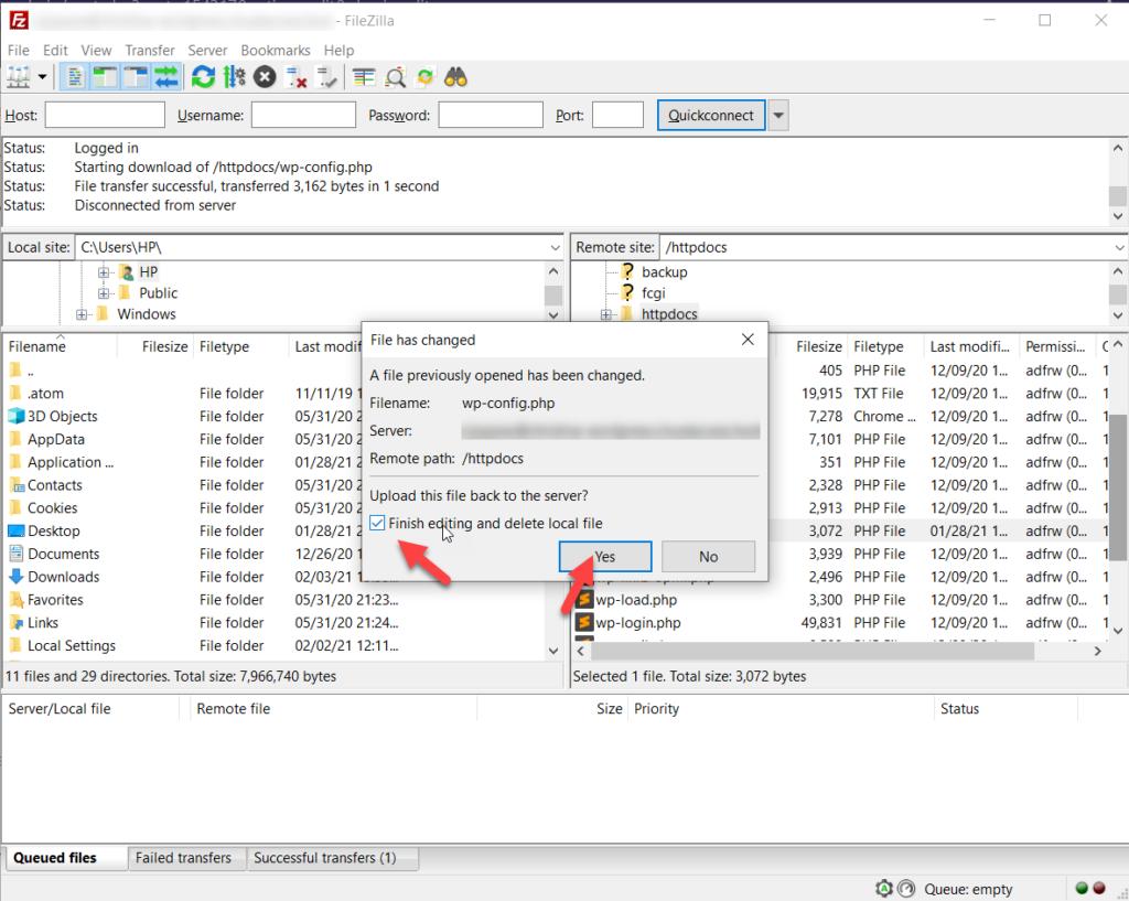 upload modified wp config file