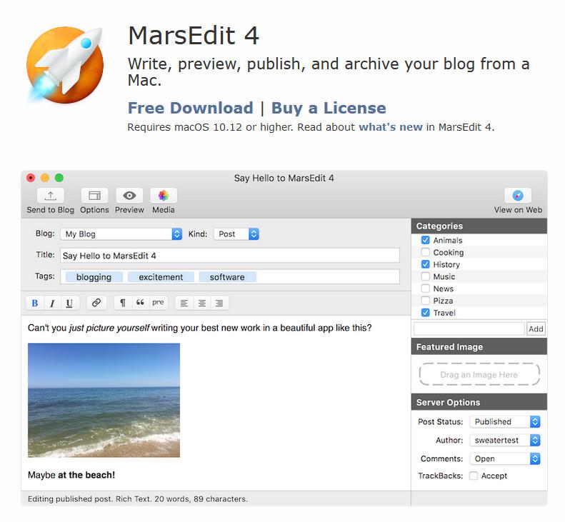 edit wordpress offline - marsedit