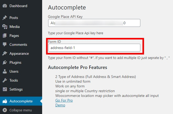 How to Autocomplete Address in WordPress - Form ID