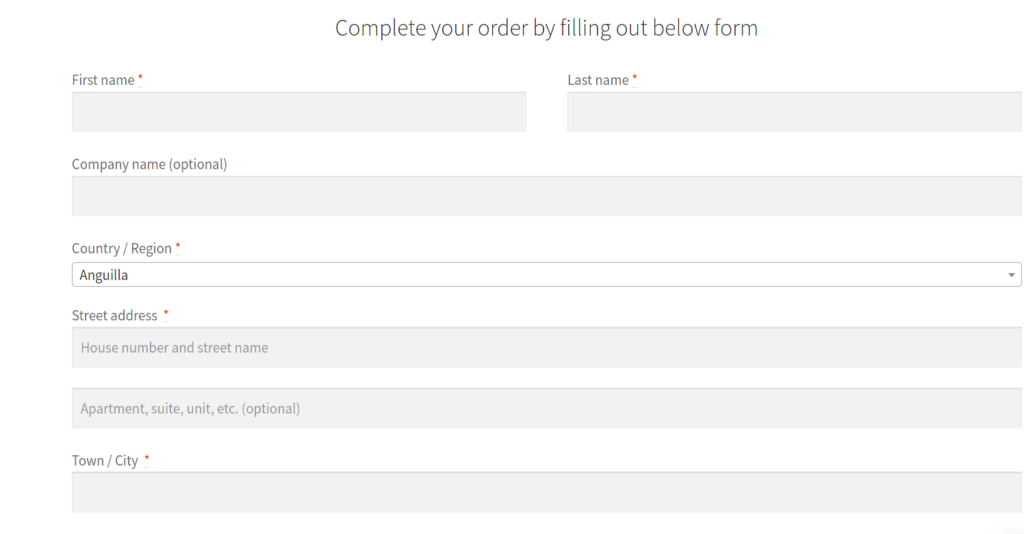 Full width checkout form