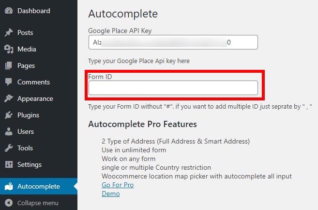 get-form-id-autocomplete-address-in-wordpress