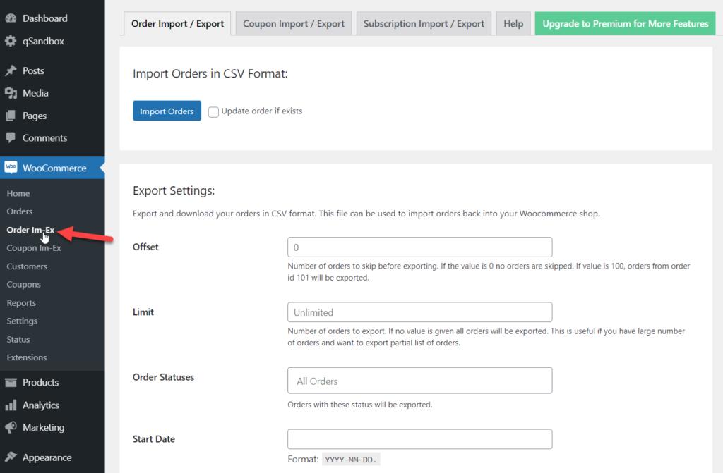 order import export settings