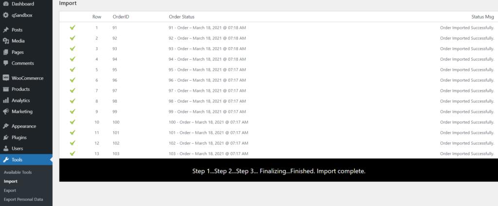 order import finished