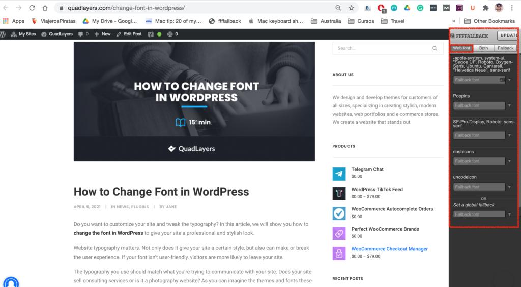 Identify font on a website - FFFFallback