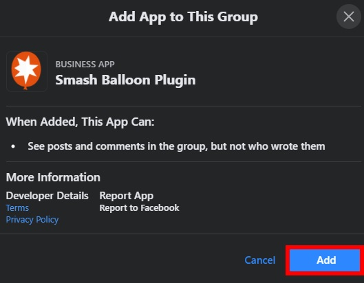 add smash balloon facebook group app add facebook group feeds