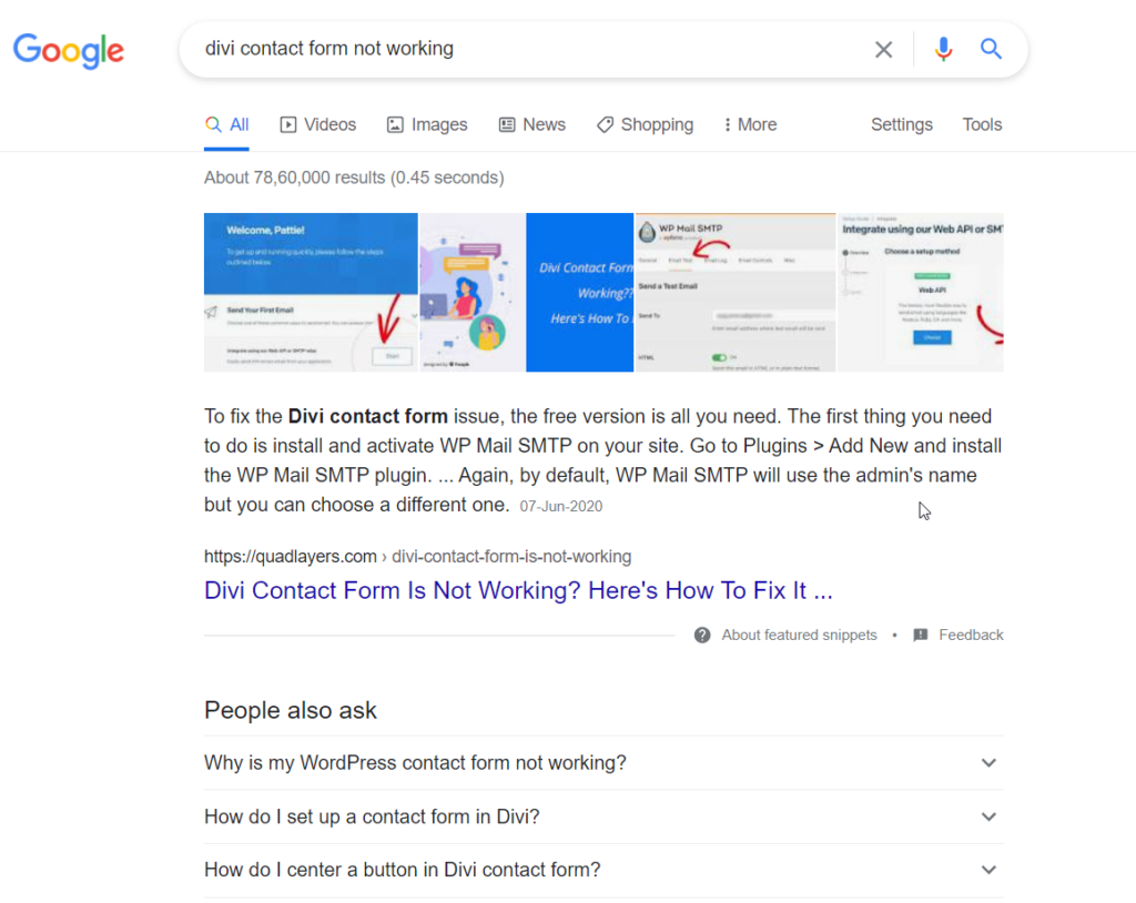 divi contact form not working google search