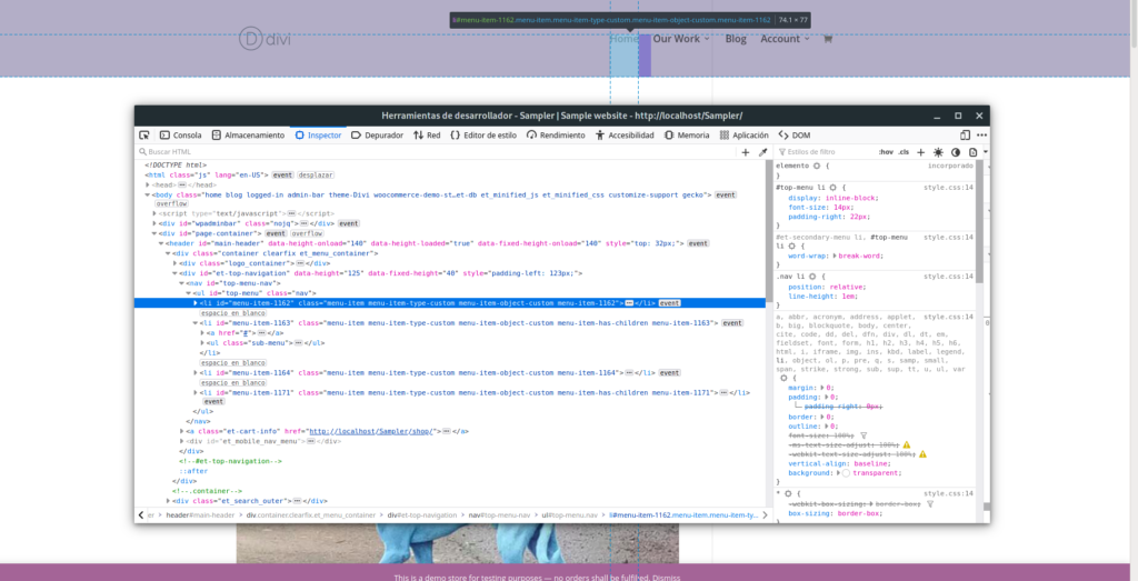 Using browser developer tool to pick CSS selector