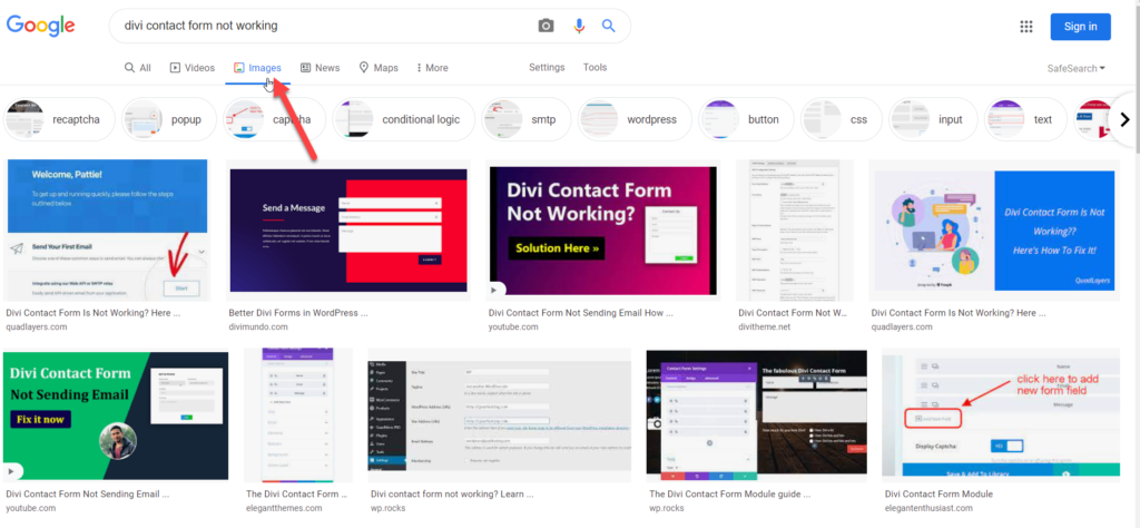 automatically Add ALT Tags to Images - divi contact form not working image