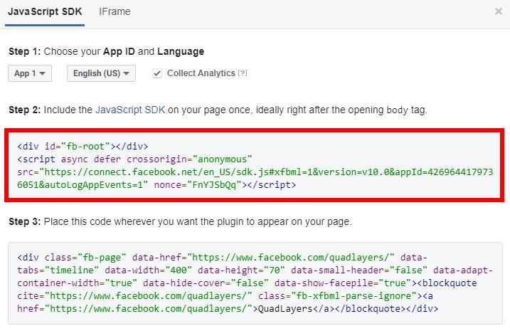 javascript first code add facebook group feeds