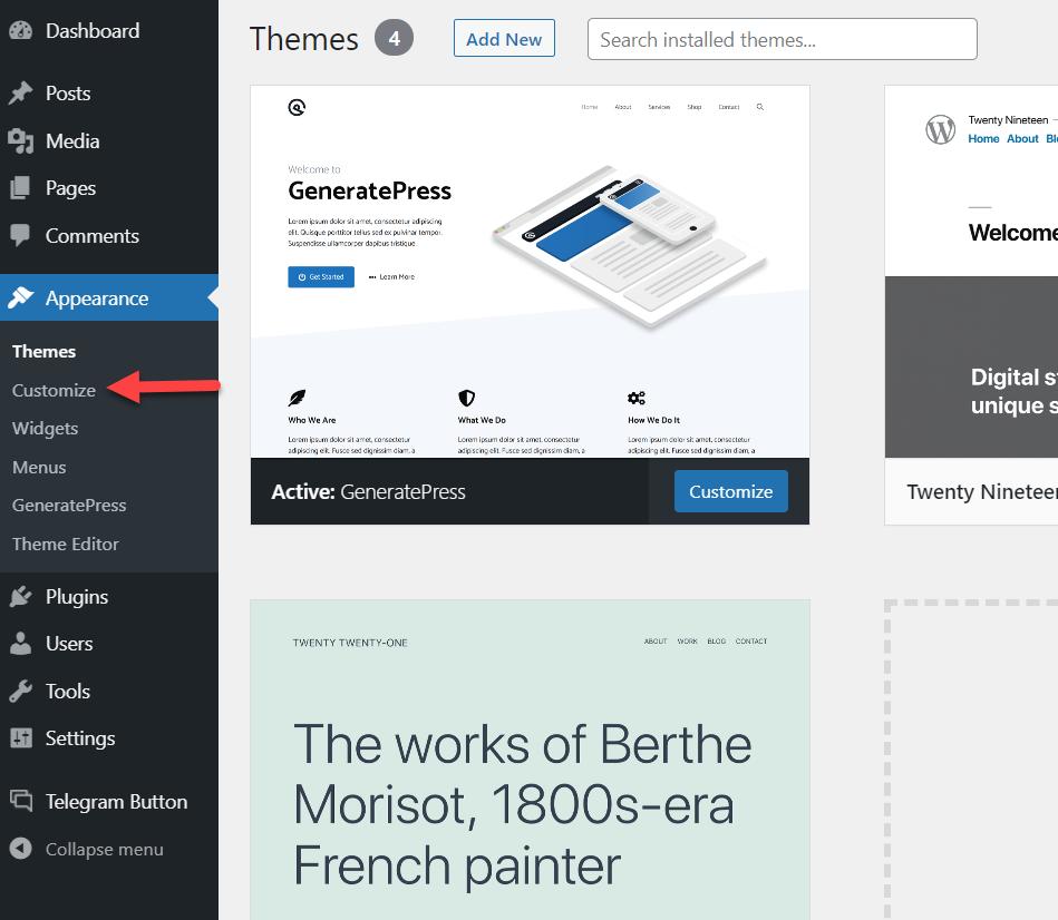 add page to wordpress menu * open wordpress customizer