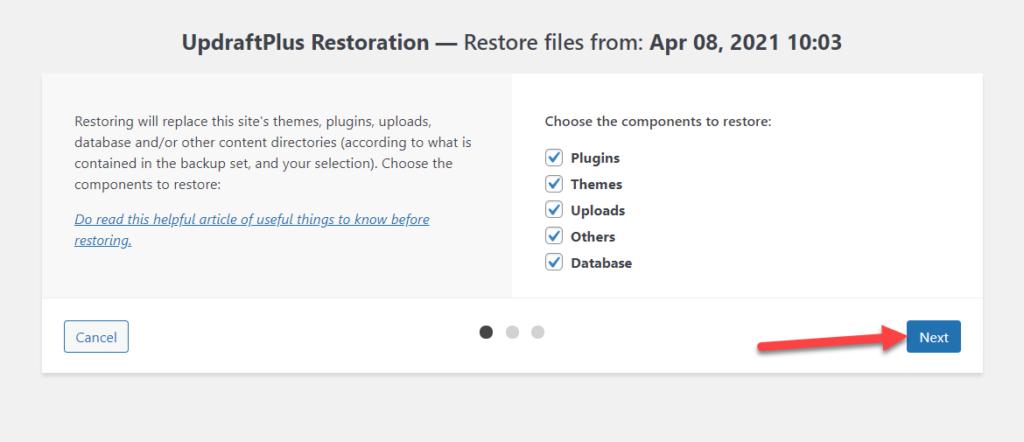 restore updraftplus