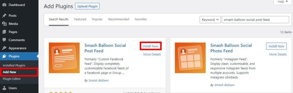 samsh balloon social post feed install plugin add facebook group feeds