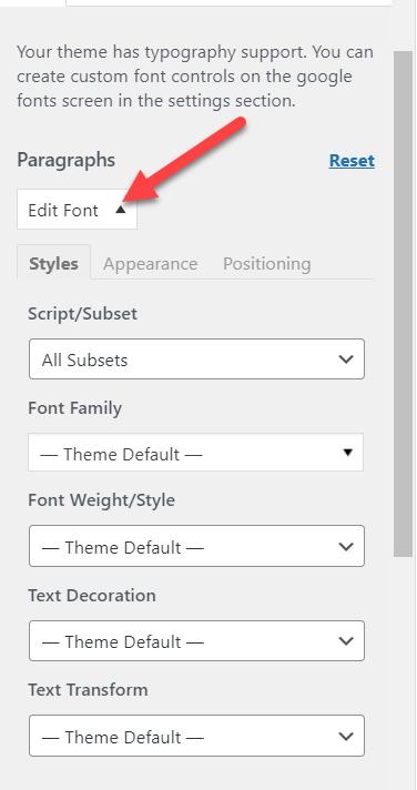 select paragraph font