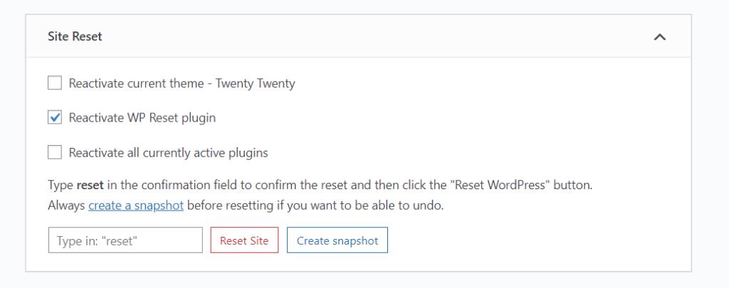 reset wordpress - site reset