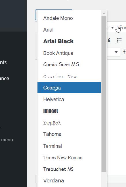 tinymce fonts integration