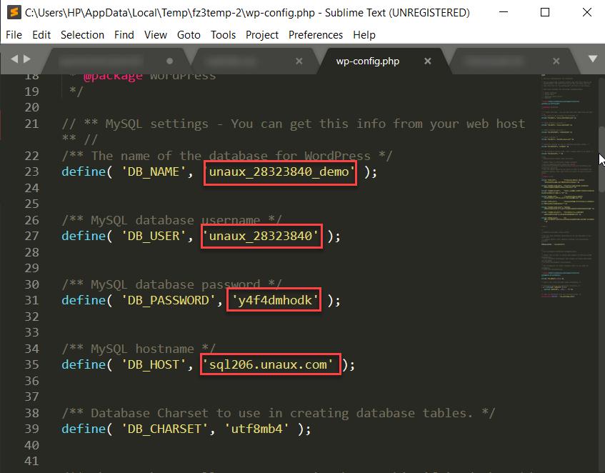 wp-config data