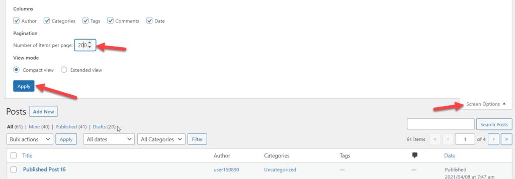 reset wordpress - wordpress screen options