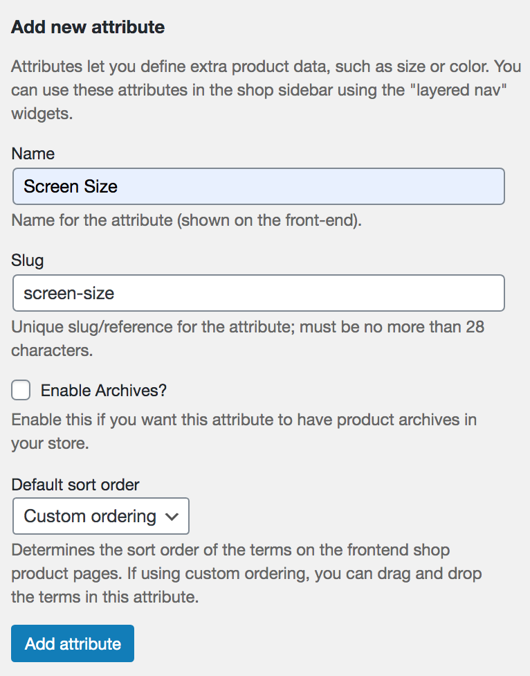 How to add WooCommerce product attributes with variations
