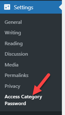 access category password settings page