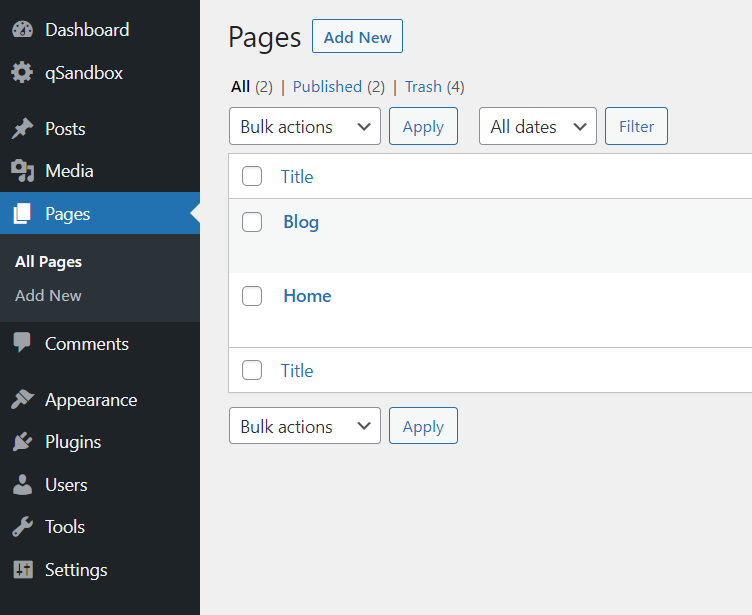all wordpress pages