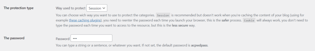 password protect page in wordpress - session and password