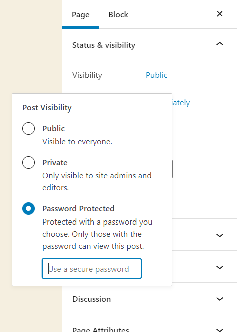 password protect page in wordpress - choose password