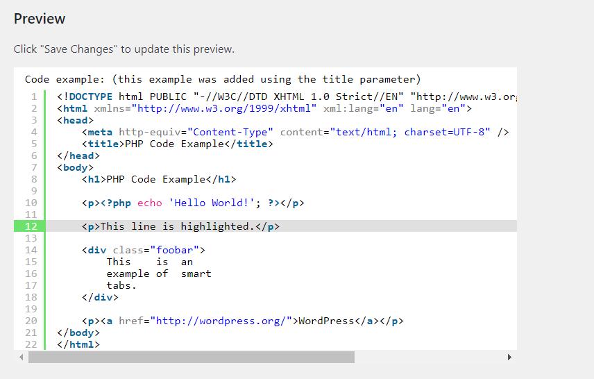 display code in wordpress - code preview