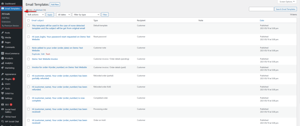 edit woocommerce email templates - email customizer plugin