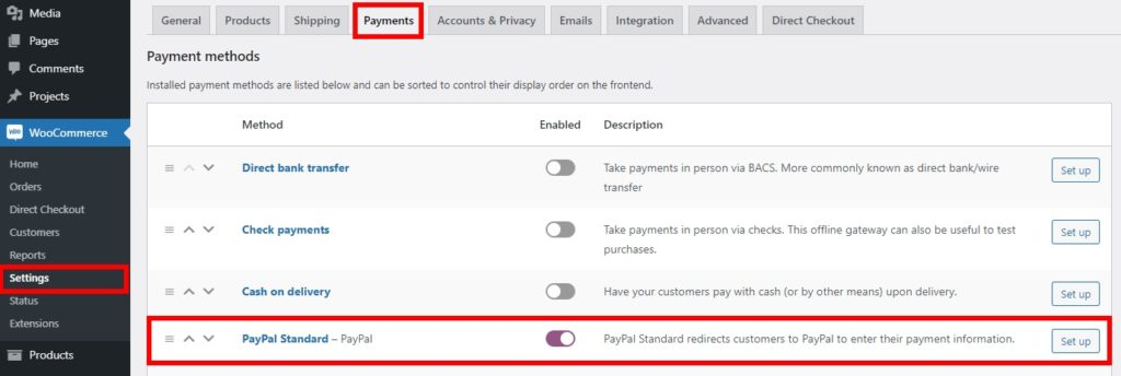 enable paypal standard test woocommerce orders