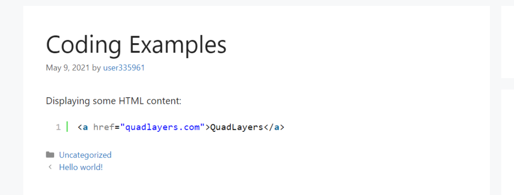 display code in wordpress - html snippet