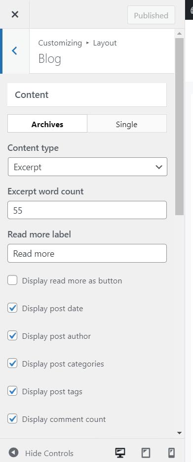 layout customization options