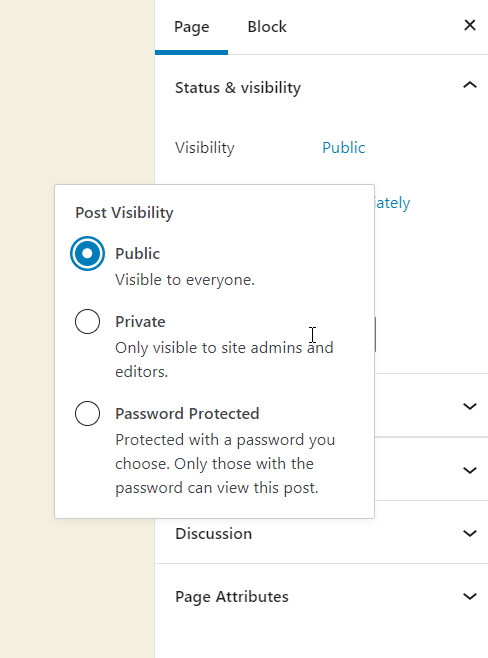 page visibility options