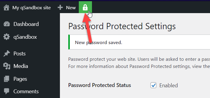 password protect page in wordpress - password protection enabled