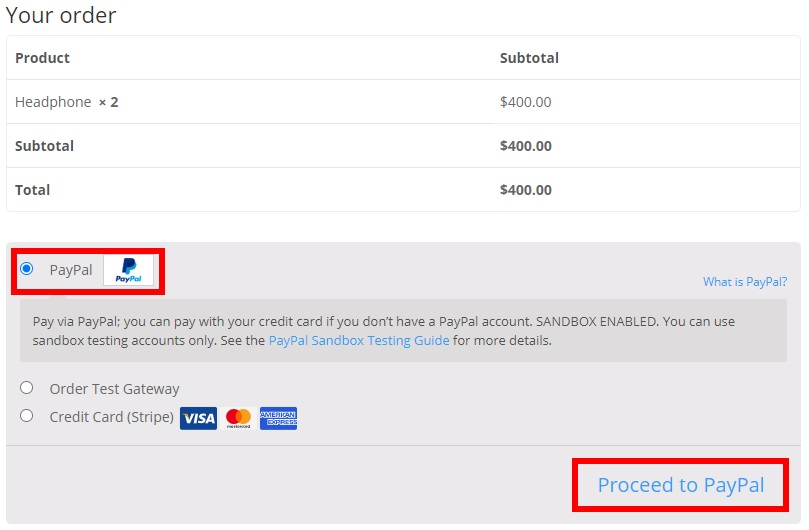 proceed with paypal test woocommerce orders