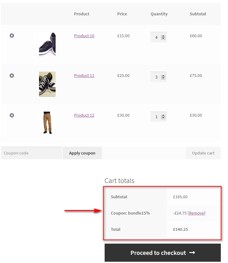 product bundles in WooCommerce - coupon cart total