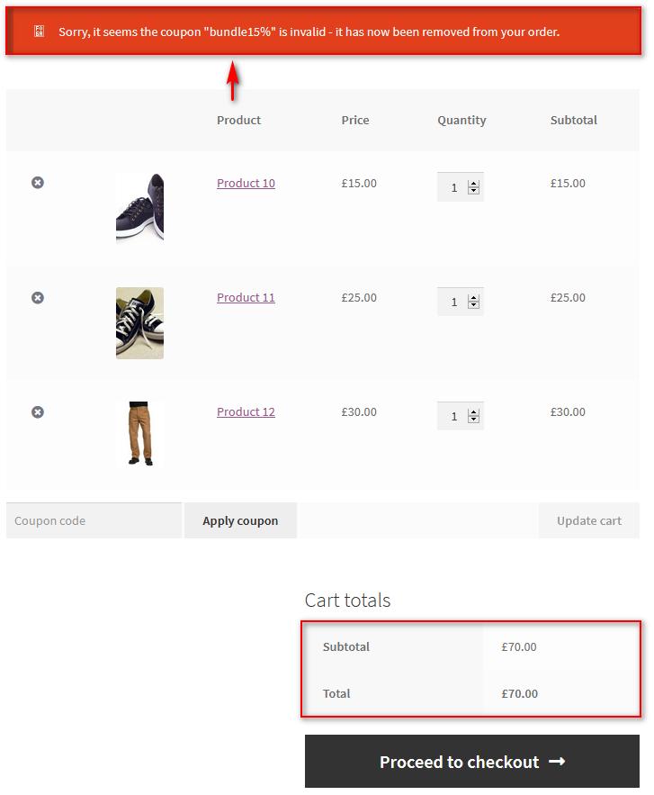 product bundles in WooCommerce - minimum cart amount
