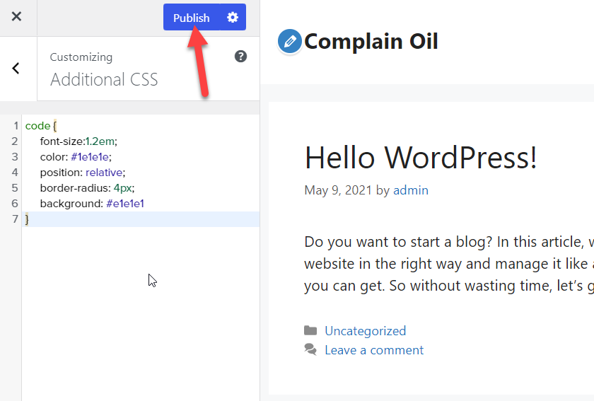 Display code in WordPress - Publish CSS changes