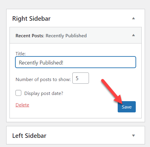 add posts to a page in wordpress - widgets renaming