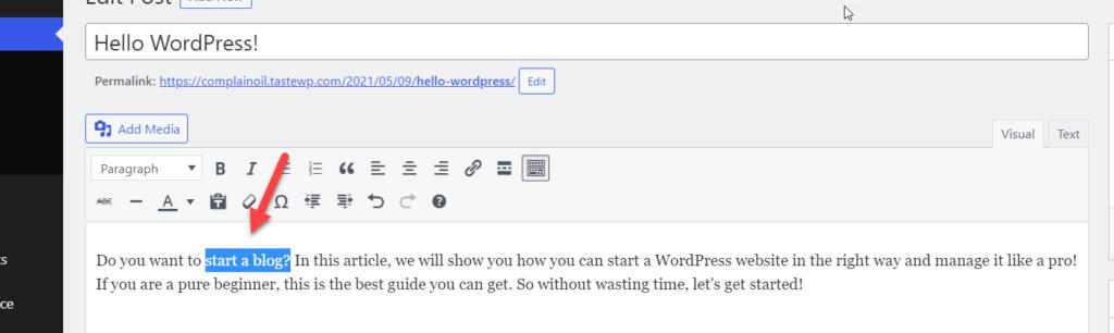 start a blog content