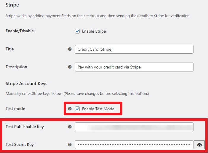 stripe test publishable secret key woocommerce orders