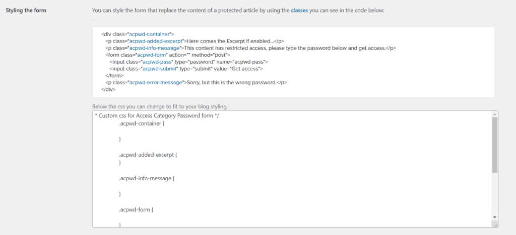 password protect page in wordpress - styling the form