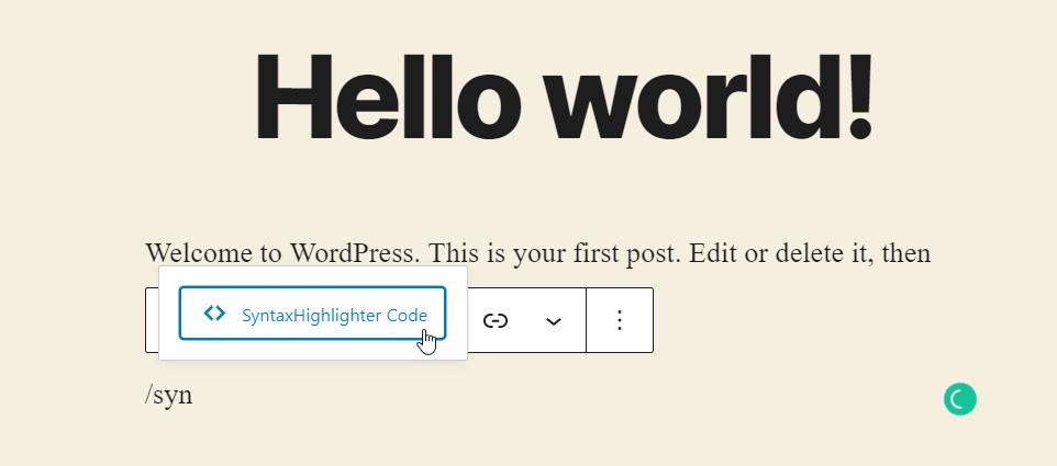 display code in wordpress - plugin block