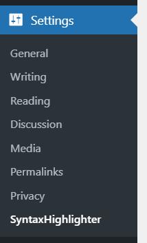 display code in wordpress - syntaxhighlighter plugin settings
