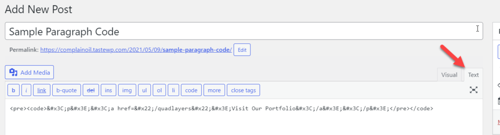 Display Code in WordPress - Manually from the text editor