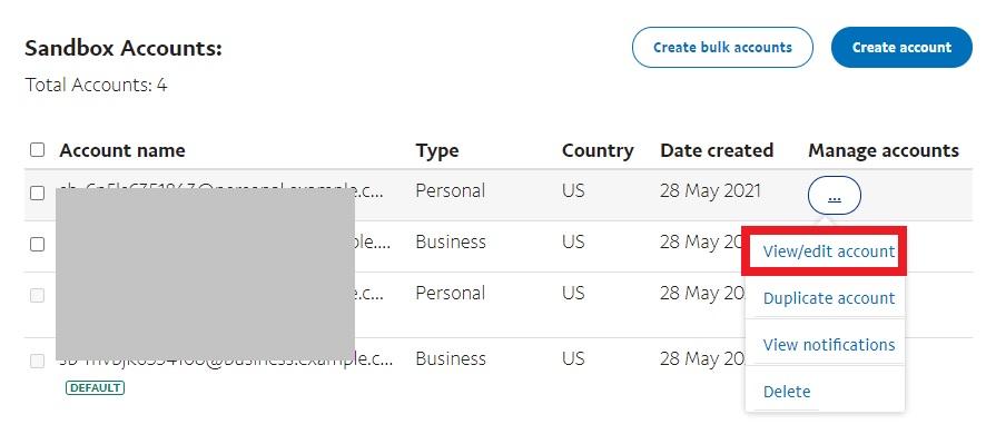 view edit account paypal sandbox test woocommerce orders