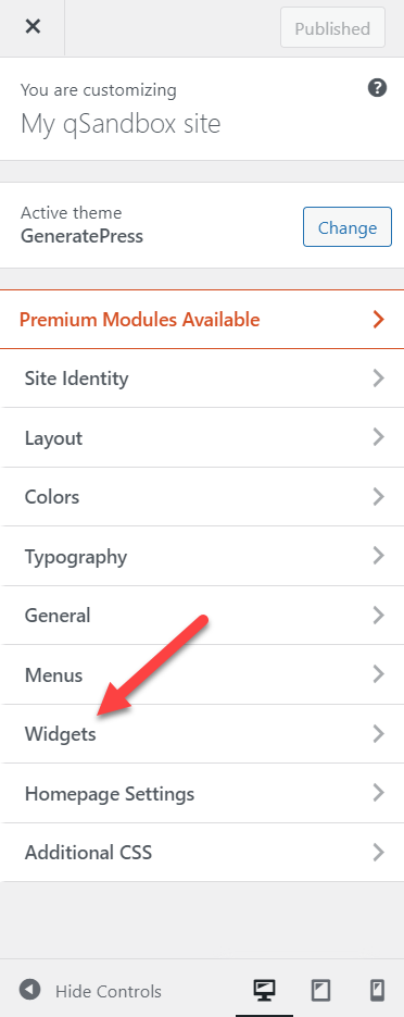 add posts to a page in wordpress - available widgets option